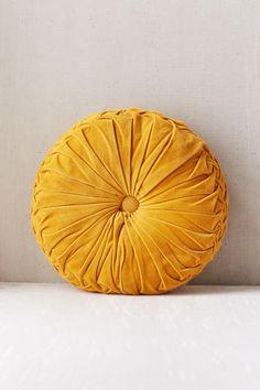 Round Pintuck Pillow - Dark Yellow One Size at Urban Outfitters Yellow Throw Pillows, Yellow Cushions, Velvet Cushions, Sofa Pillows, Diy Pillows, Round Cushions, Mustard Cushions, Cheap Pillows, Round Sofa