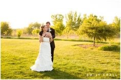 Sunset photos of bride and groom