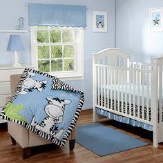Baby Boom I Luv Zebra Crib Bedding 3-Piece Set, Blue - Value Bundle