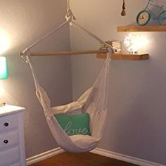 Amazon.com : Swing Hanging Hammock Chair With Two Cushions (White) : Patio, Lawn & Garden