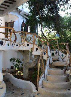 cob outdoor staircase