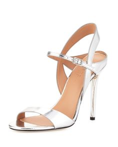 7d9e695bdc6a Halston Heritage - Ainsley Mirrored-Leather Sandal Ankle Strap High Heels