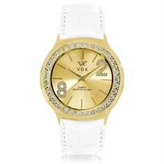 Relogio Feminino Caixa Metal Dourado com Detalhes em Zircornias G