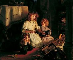 """Fireside delights,"" 1913 -- Arthur John Elsley (1860 – 1952, English)"