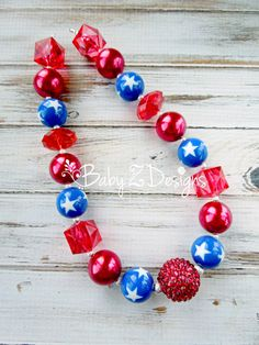 Fourth of July Red White and Blue Chunky Necklace  by babyzdesigns, $17.99