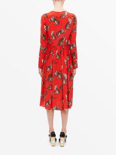 Dolce & Gabbana Cat Print Red Midi Dress Image 3