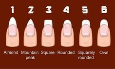 7 Different Nail Shapes: How To Shape Your Nails Perfectly? Different Nail Shapes. I prefer Almond, Rounded and Oval because they are the most feminine and elongating. Love Nails, How To Do Nails, Fun Nails, Pretty Nails, Style Nails, Sexy Nails, Nagel Hacks, Different Nail Shapes, Nail Tip Shapes