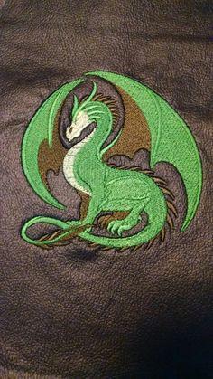 Green dragon on black vinyl.
