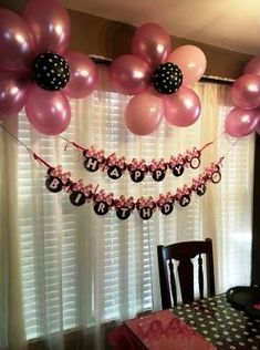 Resultado de imagen para minnie mouse balloons - Home Decoration Ideas Balloon Wall Decorations, Simple Birthday Decorations, Minnie Mouse Birthday Decorations, Minnie Mouse First Birthday, Minnie Mouse Theme Party, Room Decoration For Birthday, Simple Balloon Decoration, Minie Mouse Party, Minnie Mouse Favors