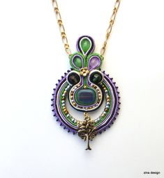 Tree of life soutache pendant
