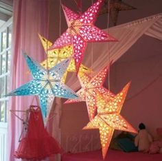 Paper Star Lights......a locally owned restaurant has approximately 50 of these hanging from their ceiling....they really look cool!