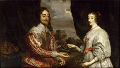 Dual portrait of King Charles I and Henrietta Maria of France. Married 1625; Charles was executed 1649.