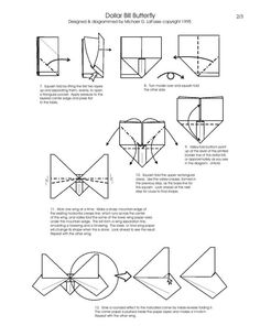 Free Folding Diagram: Butterfly Money Origami Part 2 of 3 - Instructions