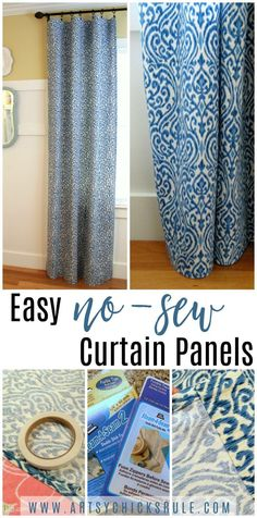 Easy, INEXPENSIVE, no sew curtain panels ....made in one evening's time!