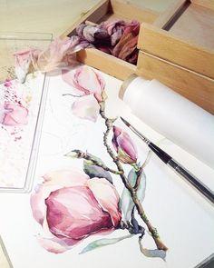 Магнолия), тем кто устал от пионов))) #misha_illustration#illustration#watercolor#watercolour#aquarelle#waterblog#art#artist#artwork#art_we_inspire#topcreator#arts_help#drawing#painting#botanical#botanicalart#watercolorpainting#flowers#magnolia#иллюстрация#акварель#магнолия