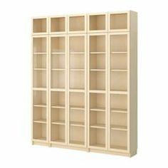 """BILLY bookcase with glass-door, birch veneer Width: 78 3/4 """" Depth: 11 """" Height: 93 1/4 """" Width: 200 cm Depth: 28 cm Height: 237 cm"""