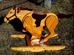 Galloping Rocking Horse Handmade Wooden by RockingwoodBuddies