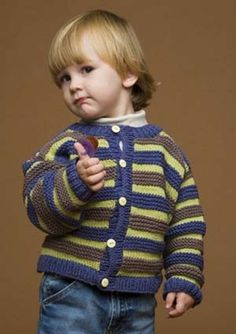 Ravelry: Striped Cardi / Playful Stripes Cardigan pattern by Lion Brand Yarn Baby Boy Cardigan, Cardigan Bebe, Toddler Sweater, Striped Cardigan, Cardigan Pattern, Crochet For Boys, Knitting For Kids, Knit Or Crochet, Free Knitting