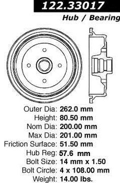 Brand:Centric Part Number:122.33017 Category:Brake Drum Price :$83.77 2Years Warranty