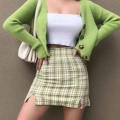 Indie Outfits, Teen Fashion Outfits, Girly Outfits, Retro Outfits, Cute Casual Outfits, Stylish Outfits, Vintage Outfits, Grunge Outfits, Green Skirt Outfits