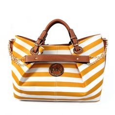 Michael Kors Striped Logo Large Yellow Totes Outlet