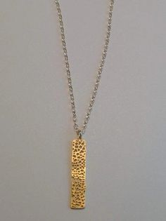 SAGA: Mesh Bar Pendant Necklace. Gold. Layering by AriaRoushe