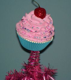 Original Fake Cupcake Tree Topper Pink Candy Land Christmas Tree Holiday Decor Party Photo Props by FakeCupcakeCreations on Etsy