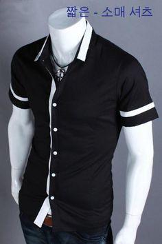 Áo sơ mi nam phối màu cách điệu đen viền trắng
