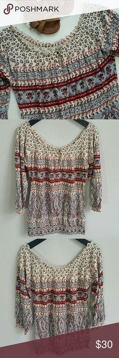 Lucky Brand Printed Peasant Top Super lovely and comfy- 3/4 sleeves. Button and loop detail in the front. Excellent condition, no flaws!  **Bundles receive 20% off + a free gift!** Lucky Brand Tops