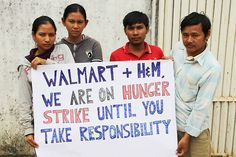 daunt:    thepeoplesrecord:    Cambodian workers on hunger strike against Walmart & H 28, 2013  Self-organized garment workers at a Walmart and H supplier factory in Phnom Penh, Cambodia, have been camping in front of their shuttered factory for almost two months to prevent their bosses from taking out the sewing machinery.  Now the workers have escalated to blocking roads, and will launch a hunger strike February 27—all to push Walmart and H to pay them the back wages th