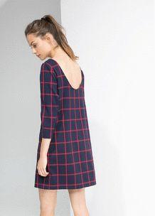 Robe droite à carreaux - Femme | MANGO