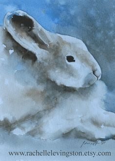 ORIGINAL Bunny artwork watercolor original by rachellelevingston, $65.00