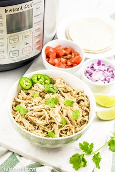 Salsa Verde Chicken Tacos Recipe {Easy Dinner in the Slow Cooker or Instant Pot} - Instapot recipes - Chicken Chicken Taco Recipes, Chicken Tacos, Mexican Food Recipes, Beef Recipes, Healthy Recipes, Mexican Dishes, Healthy Foods, Ip Chicken, Chicken Cooker