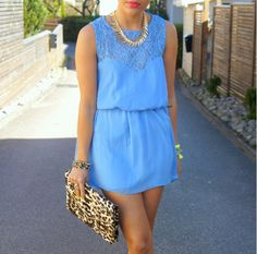 bright blue with some leopard print