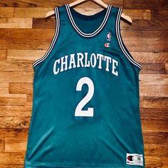 Authentic Larry Johnson Charlotte Hornets Vintage Champion Jersey Men s  Size 48   XL 8abfc8dc3