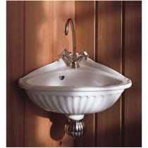 Herbeau Creations Carline Vitreous China Corner Sink Single Faucet Drilling