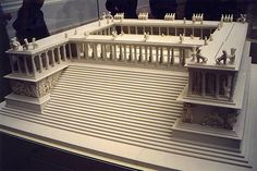 Model of Great Altar of Zeus at Pergamum (c. 175 - 150 BC).  The structure is 35.64 metres wide and 33.4 metres deep; the front stairway alone is almost 20 metres wide. The base is decorated with a frieze in high relief showing the battle between the Giants and the Olympian gods known as the Gigantomachy.