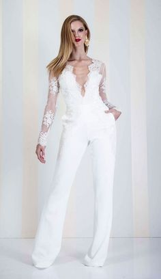 Swans Style is the top online fashion store for women. Shop sexy club dresses, jeans, shoes, bodysuits, skirts and more. Bridal Pants, Wedding Jumpsuit, White Fashion, Look Fashion, Fashion Outfits, White Outfits, Cool Outfits, Jumpsuit Elegante, Wedding Pantsuit