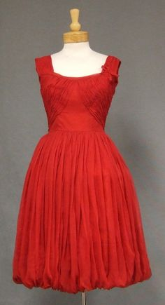 Red Chiffon Vintage Cocktail Dress w/ Gathered Bodice & Balloon Hem