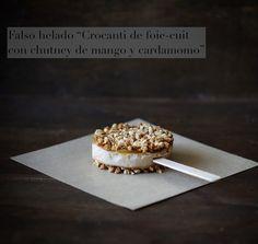 """{Falso helado/aperitivo} """"Crocanti de foie- mi cuit con chutney de mango y cardamomo"""" {Fake Ice / appetizer} """"Crocanti foie with mango chutney and cardamom"""" Tapas, Salsa Picante, Canapes, Appetizers, Cooking, Breakfast, Blog, Ideas Originales, Gourmet"""