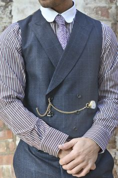 pocket watch chain (Double Albert style, with stamp fob on center drop) w/ double breasted vest