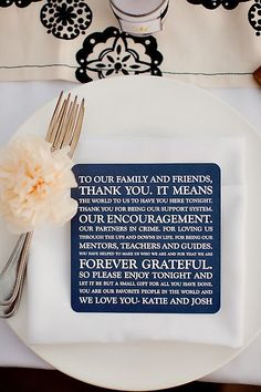 Thank you cards on table settings, instead of menus*