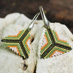 green and orange diamond beaded earring with stunning Japanese Miyuki beads and sterling silver hardware