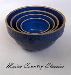 Set of 4 Blue Embossed Stoneware Nesting Mixing Bowls Clay City Pottery Indiana Vintage Bowls, Vintage Dishes, Vintage Kitchen, Red Wing Pottery, Stoneware Crocks, Cottage Kitchens, Blue Bowl, Moody Blues, Kitchen Collection