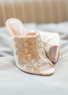 Alessia Embellished Bridal Mule By Emmy London - A super sexy bridal mule with skyscraper heel. Decadent hand beading with pacific opal stones adorns the front of the Alessia. Perfect for the modern fashion forward bride.  The gorgeous Alessia bridal shoe is the show-stopper of our Cancello collection, inspired by the architectural geometric patterns of Italian metal work.