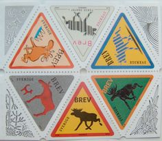 Triangular Swedish moose stamps