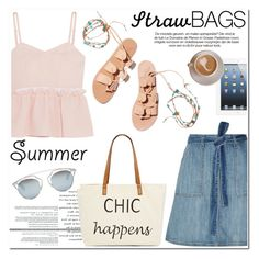 """Carry On: Straw Bags"" by helenevlacho on Polyvore featuring Current/Elliott, Steve J & Yoni P, Straw Studios, Christian Dior, Ancient Greek Sandals, strawbags and contestentry"