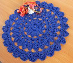 Christmas dark blue crochet doily Christmas decor by ShopGreenJoy