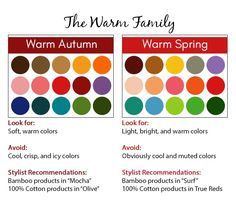 Warm color season - color palette - warm autumn and warm spring Don't know what your color season is? Find your color season and figure out which sets of colors best match your features with Headcovers guide. Warm Spring, Warm Autumn, Clear Spring, Light Spring, Colors For Skin Tone, Warm Colors, Warm Skin Tones, Deep Autumn Color Palette, Color Type