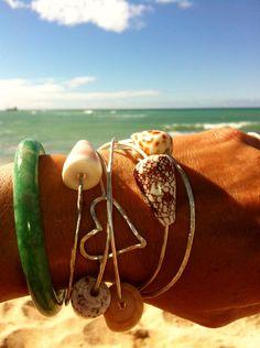 Hawaiian shell bangle bracelet - Sterling Silver 14 gauge. $32.00, via Etsy.